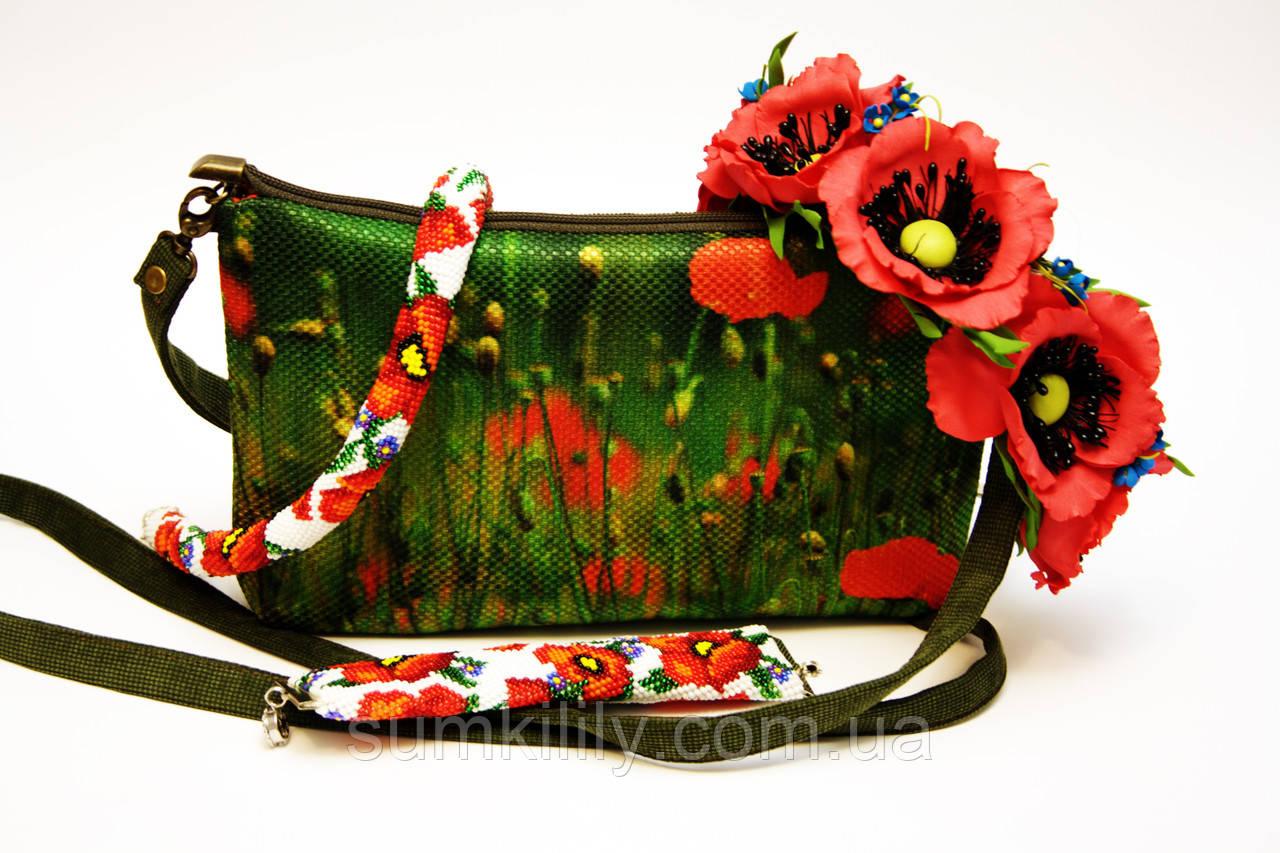 Жіноча сумочка Маки на зеленому