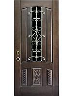 Элитные входные двери для коттеджа (массив + ковка) модель Аркада