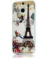 Силиконовый чехол накладка для HTC One M8 с картинкой башня и попугаи