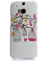 Силиконовый чехол накладка для HTC One M8 с картинкой клетка