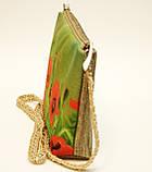 Женская сумочка Маки на зеленом с бежевой спинкой, фото 2