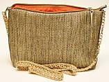 Женская сумочка Маки на зеленом с бежевой спинкой, фото 5