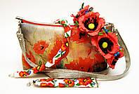 Женская сумочка Маки на сером со светло-серой спинкой, фото 1