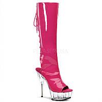 Ярко-розовые сапоги на шнуровке