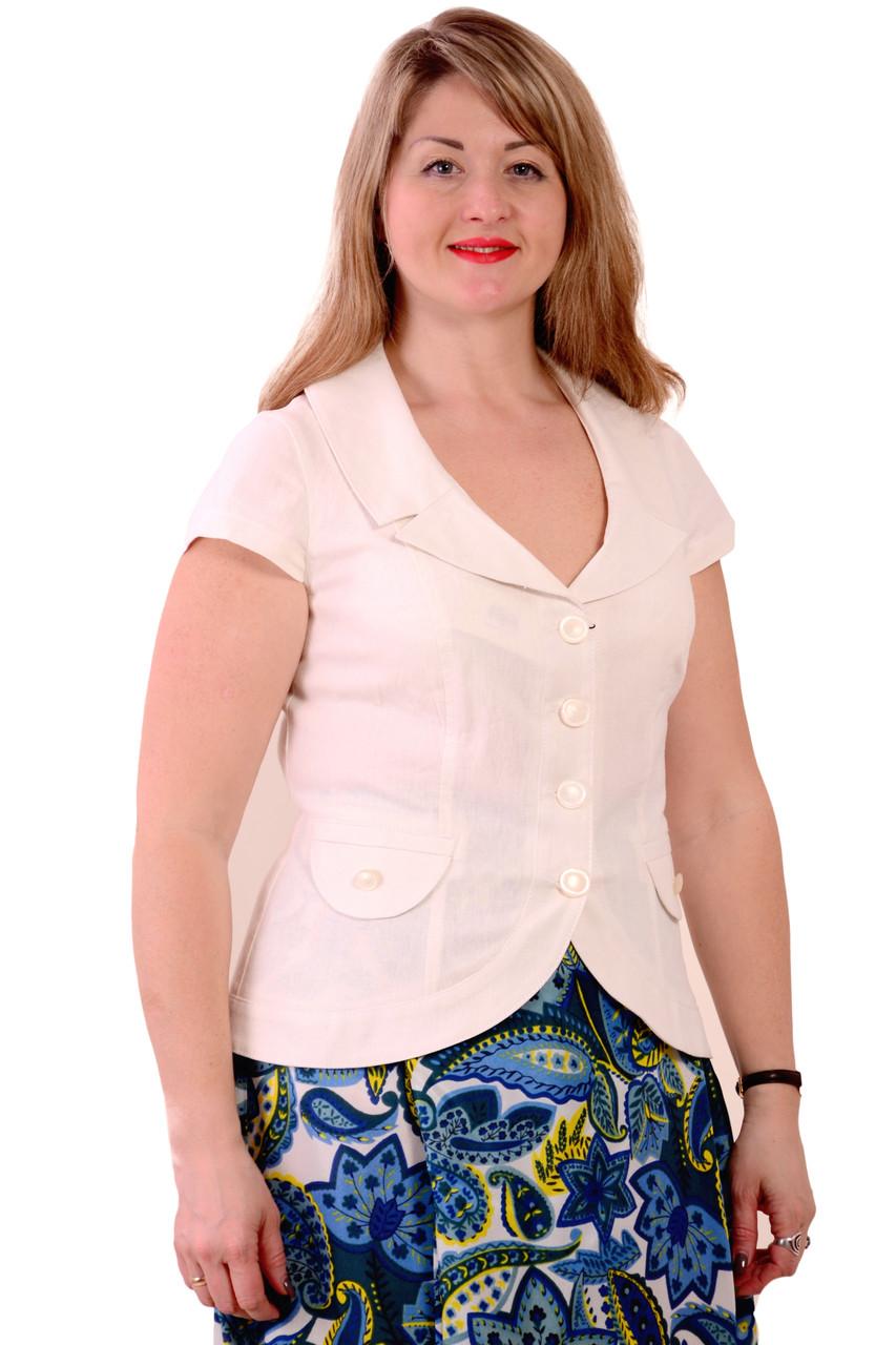 Белый льняной жакет короткий, приталенный, 46-54, Жк 002-2. - ТМ Nadtochy , Швейная фабрика  НАДТОЧИЙ в Черкассах