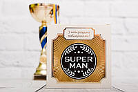 Шоколадная медаль SUPER MAN. Поздравительная медаль для супер парня