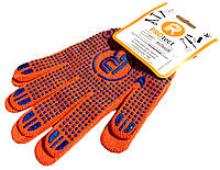 Перчатки трикотажные PROtect (класс 10 c ПВХ точкой) для садовых работ, оранжевые