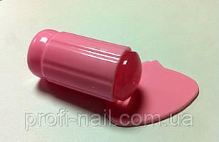 Розовый штампик с прозрачной силиконовой подушечкой