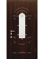 Двери входные стальные мдф (ковка+стеклопакет) модель Арбарусь