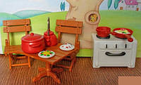 "Набор мебели ""Кухня с плитой"" (аналоги Sylvanian Families) арт. 012-04В"