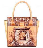 Стильная женская сумка из натуральной кожи трапециевидной формы