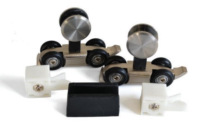 Фурнитура для раздвижных стеклянных систем комплект роликов (ДО 80 КГ) KIN-LONG