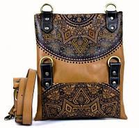 Сумка-клатч из натуральной кожи с эксклюзивным дизайнерским рисунком. Коллекция «Эклектика»
