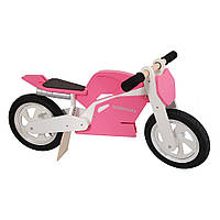 "Беговел 12"" Kiddy Moto Superbike деревянный, розово-белый"