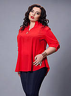 Красная блуза расширенная к низу