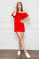 2181 Короткая летная туника с женственной оборкой красная