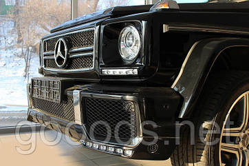 Накладка переднего бампера с ДХО BRABUS на Mercedes W463
