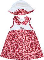 Летнее платье и панама для девочки, бело-красные, в цветочки, рост 80 см, 86 см, ТМ Фламинго