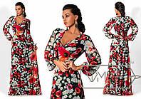 Красивое шифоновое платье в пол с длинным рукавом в красные цветы на черном фоне