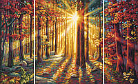 """Картина по номерам «Schipper» (9260688) художественный творческий набор-триптих """"Осенний лес"""", 80х50 см"""