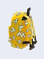 Оригинальный рюкзак Белые цветы на жёлтом с прикольным принтом.