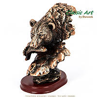 Статуэтка голова медведя с рыбой от Classic Art 14 см ES054