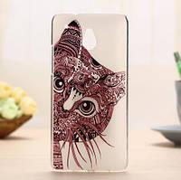 Силиконовый чехол накладка для HTC One Mini с картинкой кот