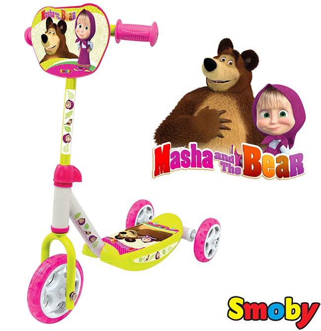 Детский самокат трехколесный Smoby Маша и Медведь Smoby 750100