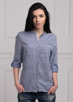 Стильная  женская рубашка синего   цвета