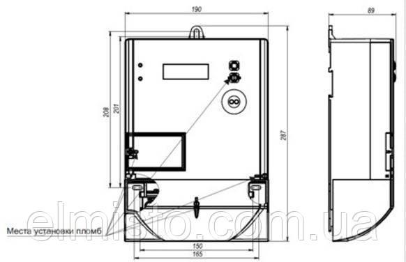 Габаритные размеры электросчетчика MTX3A10.DH.4Z1-C4 в корпусе второго типа (возможна установка на DIN-рейку)