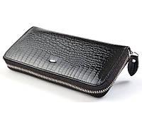 Черный кошелек лаковый из кожи EТ38 Black