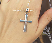 Срібний хрестик без каменів і розп'яття