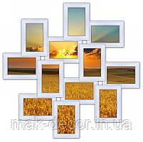 Деревянная мультирамка на 12 фото Зигзаг, белая