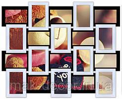 Деревянная мультирамка на 20 фото Классика 20, черно-белая