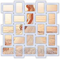 Деревянная мультирамка на 25 фото Классика 25, белая