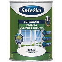 Краска суперэмаль Sniezka глянцевая для дерева и металла 0,8 л белая
