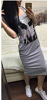 Женское платье миди-  Монро серый
