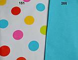Ткань с цветными горохами 40 мм на белом фоне (№151), фото 5