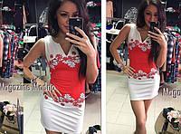 Женское платье Ромашка красное
