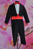 Нарядный костюм для мальчика с фраком черный с поясом и бабочкой