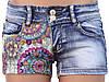 Короткие джинсовые шорты с кружевной вставкой 40-46, фото 2