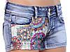 Короткие джинсовые шорты с кружевной вставкой 40-46, фото 3
