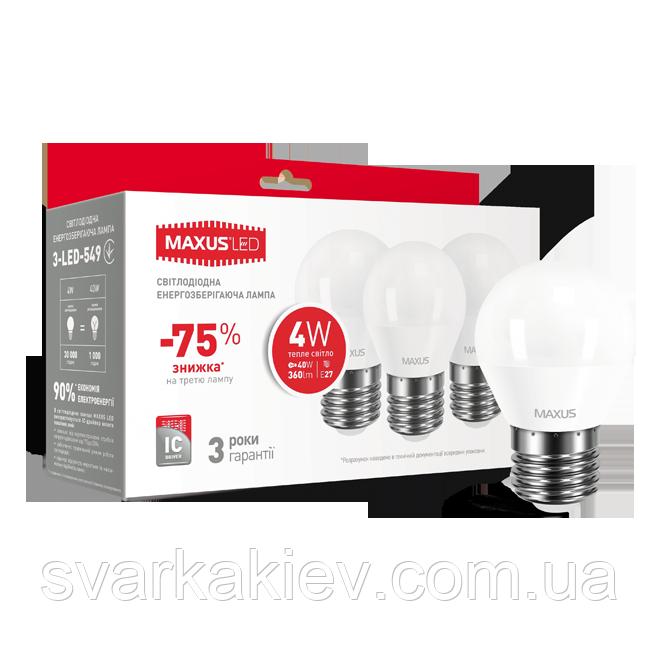 Набор LED ламп MAXUS G45 F 4W мягкий свет 220V E27 (по 3шт.) (3-LED-549)