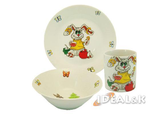 """Детский набор  посуды """"Весёлый зайчик """""""