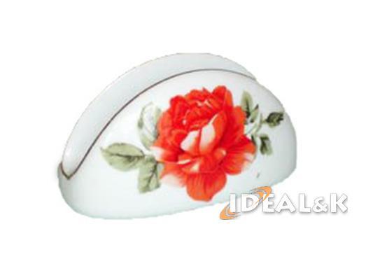 Фарфоровая салфетница SAL-3200 (оранж.роза на белом фоне)
