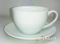 Фарфоровая  чашка с блюдцем  белая 230 мл. GY-HP-09