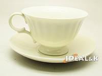 Фарфоровая чашка с блюдцем,  HP-03 белого цвета, 240 мл.