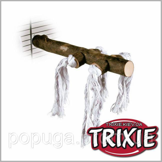 Жердочка деревянная, 25 см, с веревкой