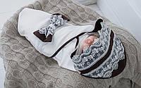 """Трикотажный плед для новорожденных """"Изысканность"""", коричневый, фото 1"""