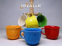 """Чайный  набор 6 пр.  """"Радуга""""  Цветная чашка  без/уп."""